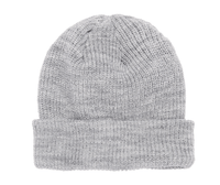 Heather Grey Ribbed Cuffed Knit Beanie for custom Embroidery and Laser etched leather patch