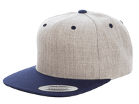 Heather Navy Snapback hat for promotional Laser engraved leather patch and custom Embroidery