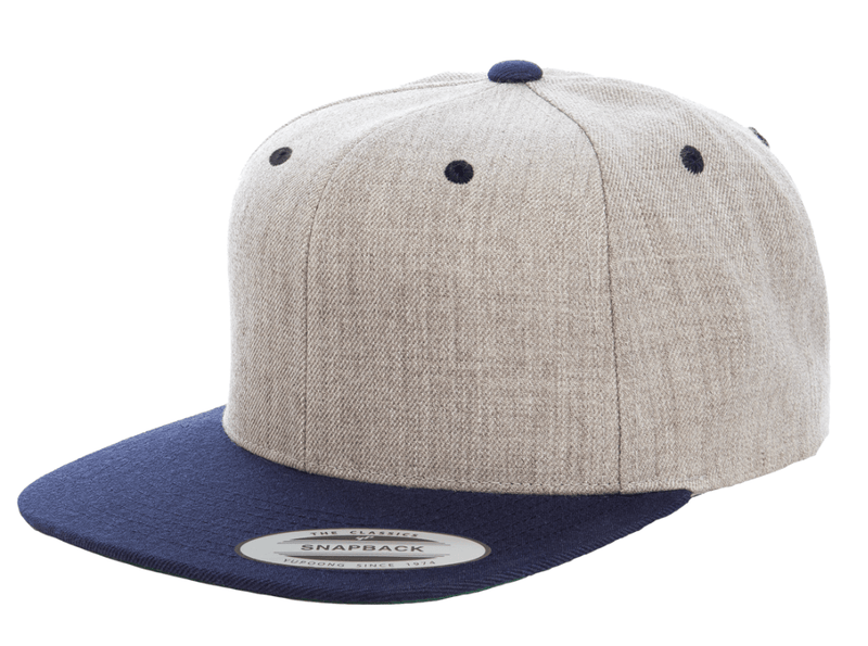 c779bb5a12b12 Heather Navy Snapback hat for promotional Laser engraved leather patch and custom  Embroidery