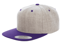 Heather Purple Snapback cap for promotional Laser engraved leather patch and custom Embroidery