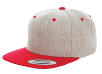 Heather Red Snapback cap for promotional Laser engraved leather patch and custom Embroidery