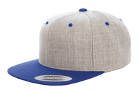 Heather Royal Blue Snapback cap for promotional Laser engraved leather patch and custom Embroidery
