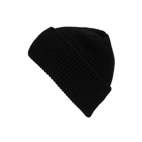 black cuff knit beanie hat for custom personalized Embroidery and Laser engraved leather patch