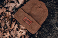 100% wool custom beanies with leather patch