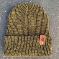 loden cuff beanie with personalized Laser engraved leather patch by dekni creations