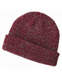 maroon grey Ribbed Marled beanie for custom personalized Embroidery and Laser engraved leather patch
