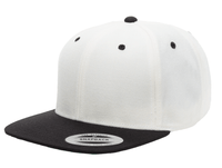 White Black Snapback cap for promotional Laser engraved leather patch and custom Embroidery