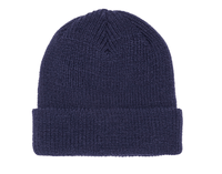 Navy Ribbed Cuffed Knit Beanie for custom Embroidery and Laser etched leather patch by flexfit