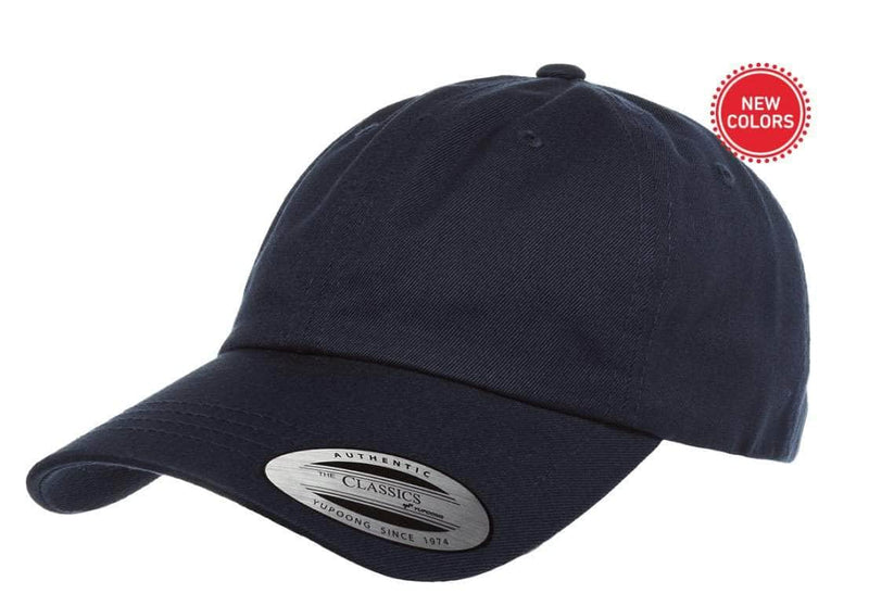 ca02b93cb navy Low Profile Cotton Twill Dad Hat for custom Embroidery and Laser  engraved leather patch
