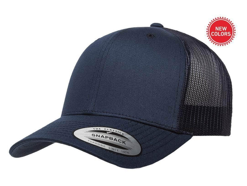 04c2575ee5fc9 Navy Retro Trucker Hat for custom laser engraving leather patch and  promotional Embroidery