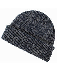 navy grey Ribbed Marled beanie for custom personalized Embroidery and Laser engraved leather patch