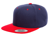 Navy Blue Red Snapback cap for promotional Laser engraved leather patch and custom Embroidery