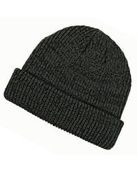 black olive Ribbed Marled beanie for custom personalized Embroidery and Laser engraved leather patch