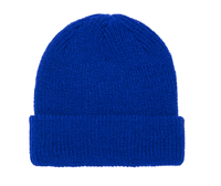 Royal blue Ribbed Cuffed Knit Beanie for custom Embroidery and Laser etched leather patch by flexfit