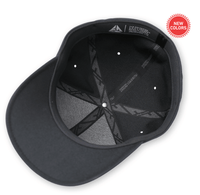 Black Delta cap inner for custom Embroidery and Laser engraved leather patch by flexfit