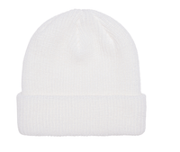 White Ribbed Cuffed Knit Beanie for custom Embroidery and Laser etched leather patch by flexfit