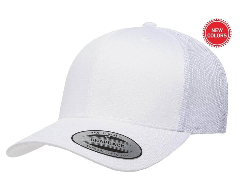 9e4f32b9 White Retro Trucker Hat for custom laser engraving leather patch and  promotional Embroidery