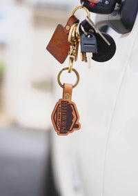 custom shape leather keychains made in the usa