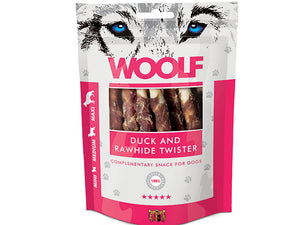 Woolf Duck And Rawhide Twister 100g - Totteland.dk