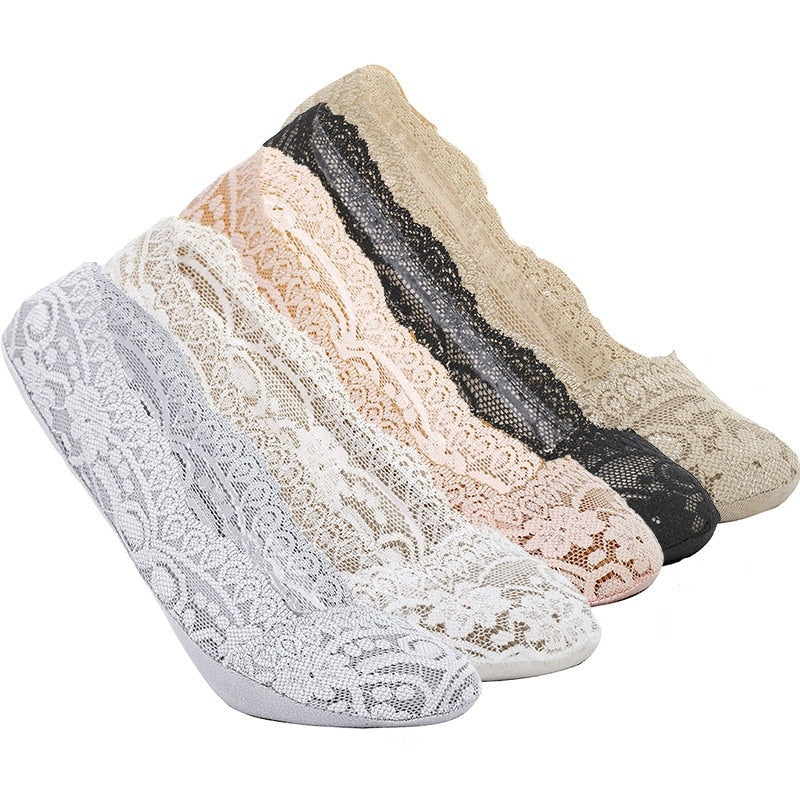 Women's Invisible 3 Pairs Lace Sapatos Socks