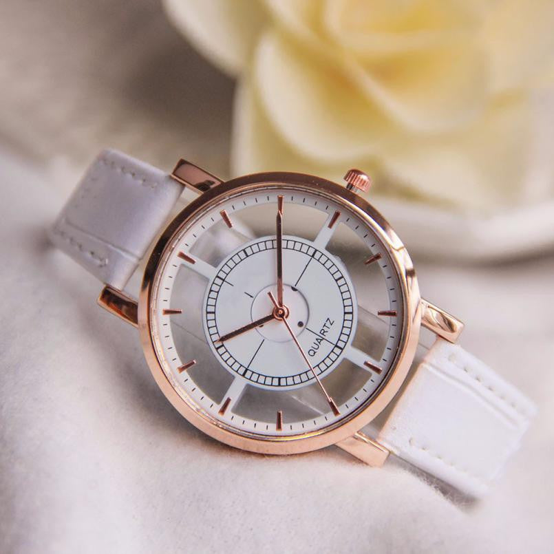 Women Neutral Hollow Analog Quartz Wrist Delicate Watch