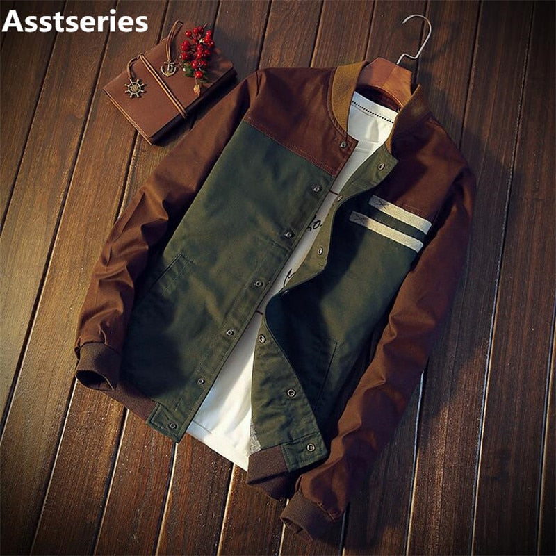 men's jacket new Cultivate one's morality short paragraph color matching collar jacket