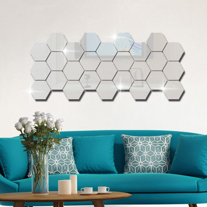 12Pcs Hexagon Acrylic Mirror Wall Stickers