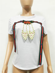 New Pearl shoes Embroidery Tees T-shirt