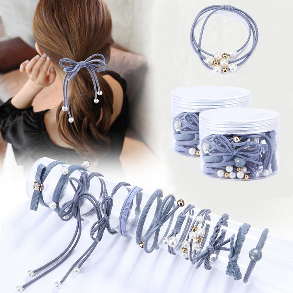 12Pcs/Set High Elastic Hair Bands Solid Pearl Stretch Hair Ties For Girls