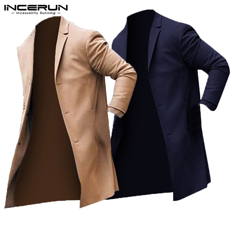 2018 Winter Fashion Men's Trench Long Jackets Coats Classic Jackets Solid Slim Fit Outwear Hombre INCERUN Overcoat Men Clothes