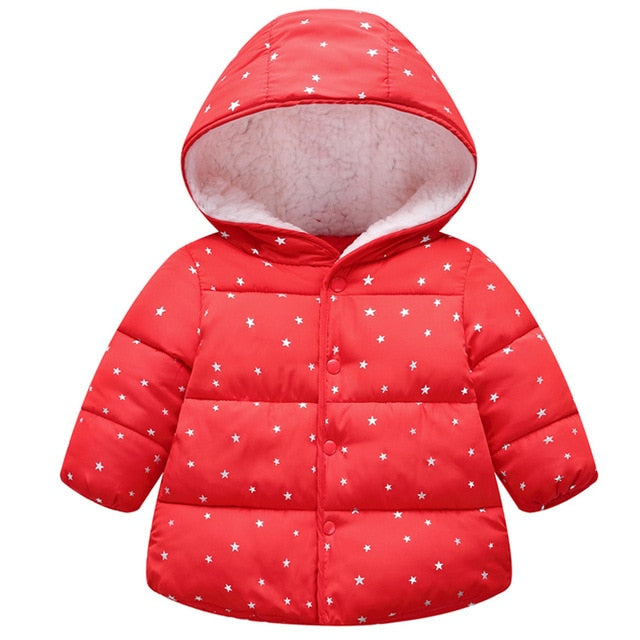 Outerwear Cotton Hooded Winter Coats For Girl