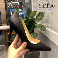 Women top quatily Ultra-luxury leather shoes with adjustable high-heeled
