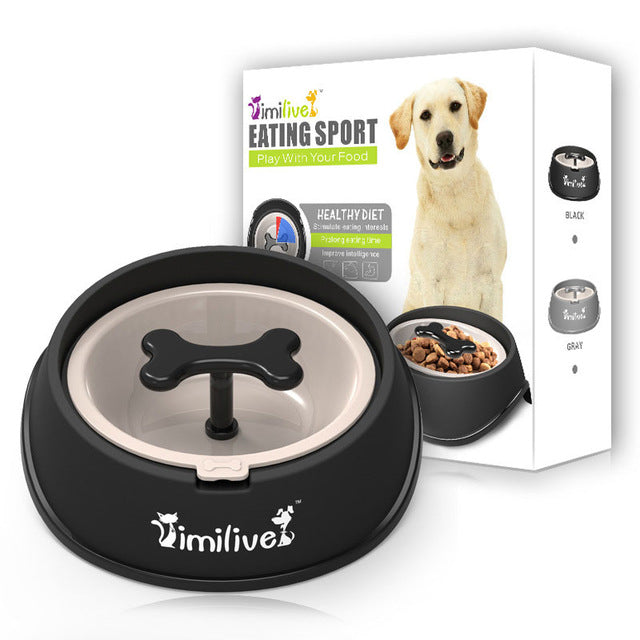 Pet Slow Eat sport bowl Fun Bone Shaped Food Water Feeding Bowls