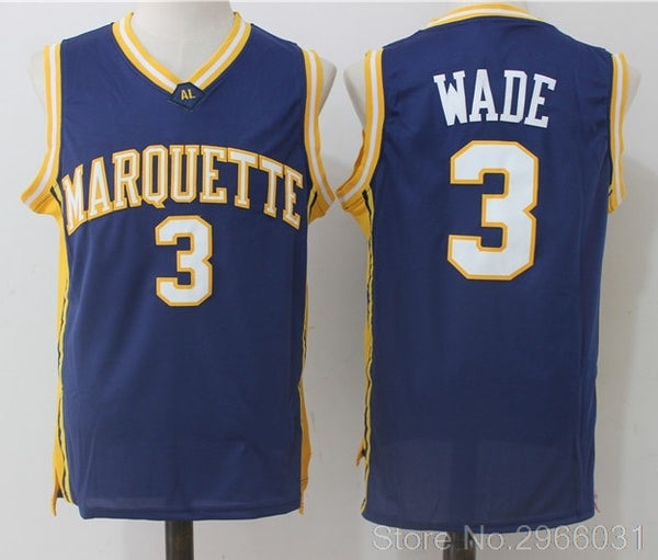 D Wade Marquette #3 Throwback Jersey - daninetyflyclothing