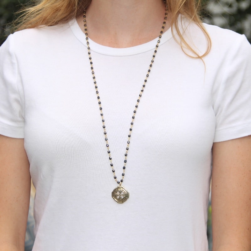 Gold Beaded Faith Necklace (30 in.)