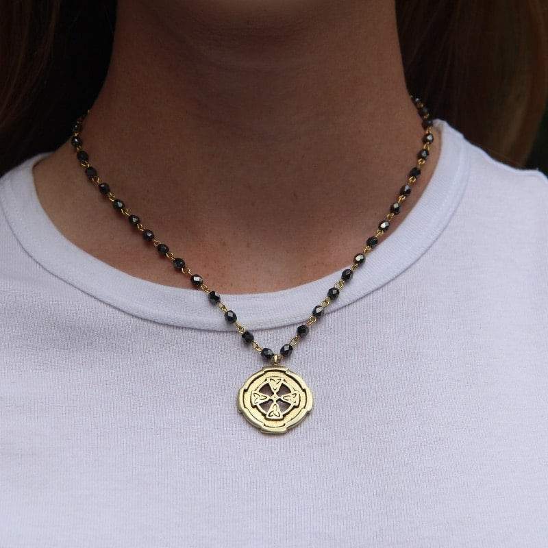 Gold Beaded Faith Necklace (16 in.)