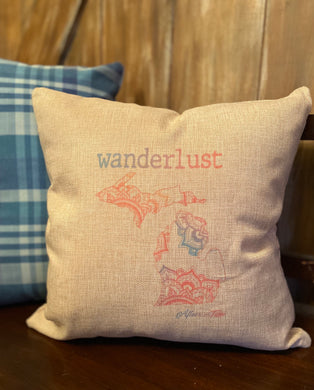 Wanderlust Michigan Pillow
