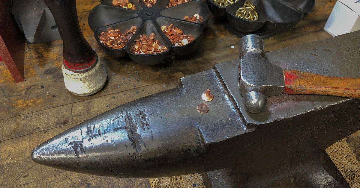 ARTIFACT anvil for hand setting solid copper apron rivets