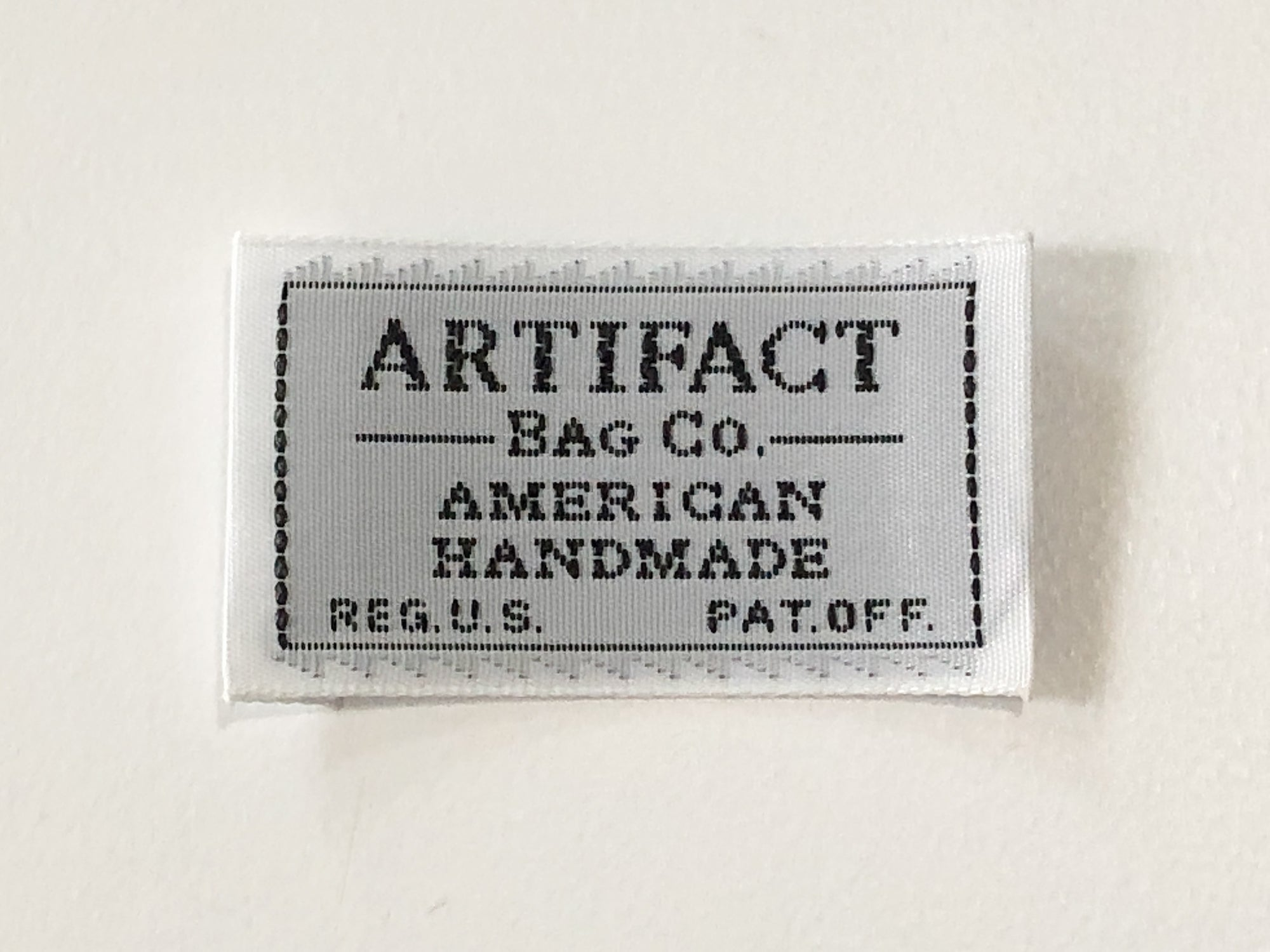 ARTIFACT vintage style shuttle loomed taffeta label