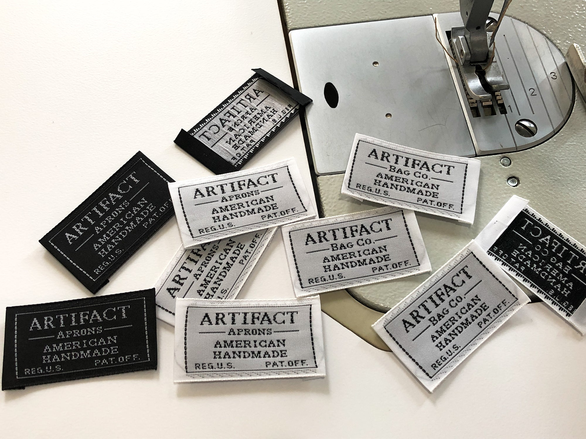 ARTIFACT vintage shuttle loomed taffeta labels