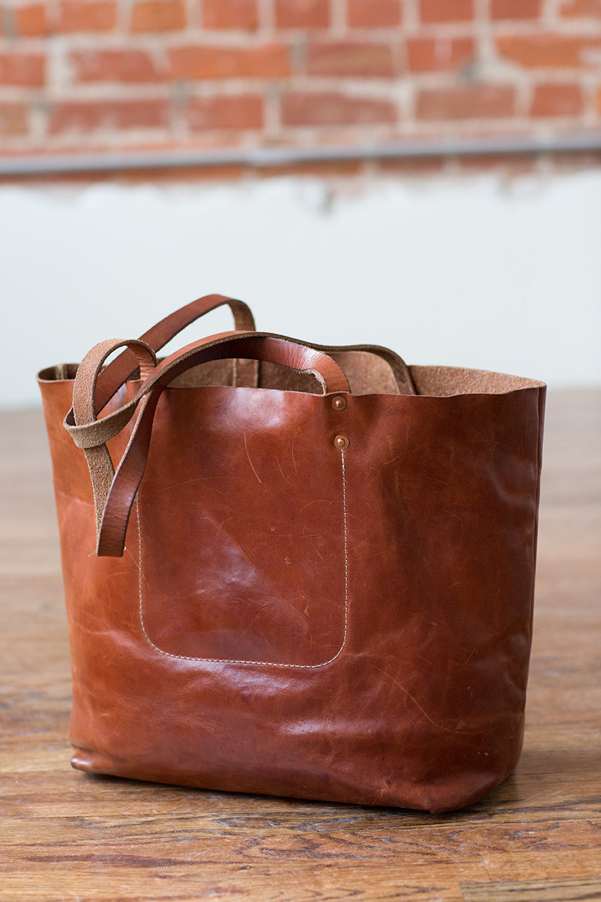 Artifact Bourbon Harness Leather Tote w/ Patina