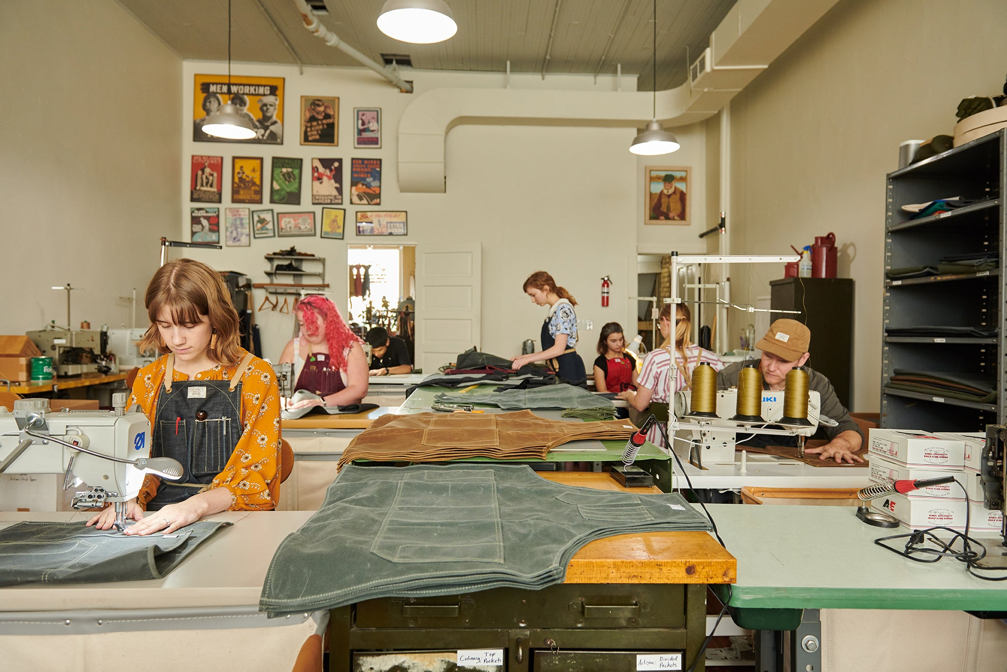 Artifact Omaha Sewing Studio Making Workshop Aprons in Wax Canvas & Leather