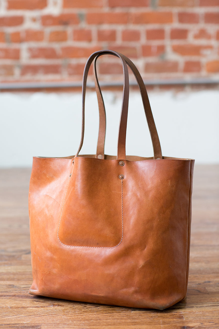 Artifact Tan Harness Leather Tote With Patina