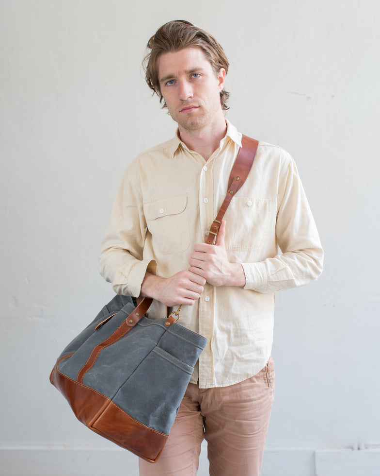 Slate Wax Canvas / Bourbon Leather (w/ Optional Shoulder Strap)