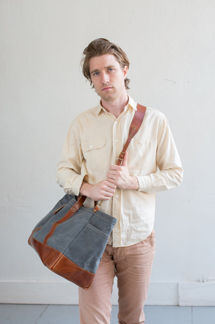 Slate Wax & Bourbon Leather (w/ Optional Shoulder Strap)