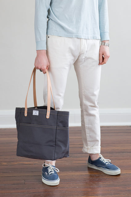 Canvas Day Tote w/ Leather Straps