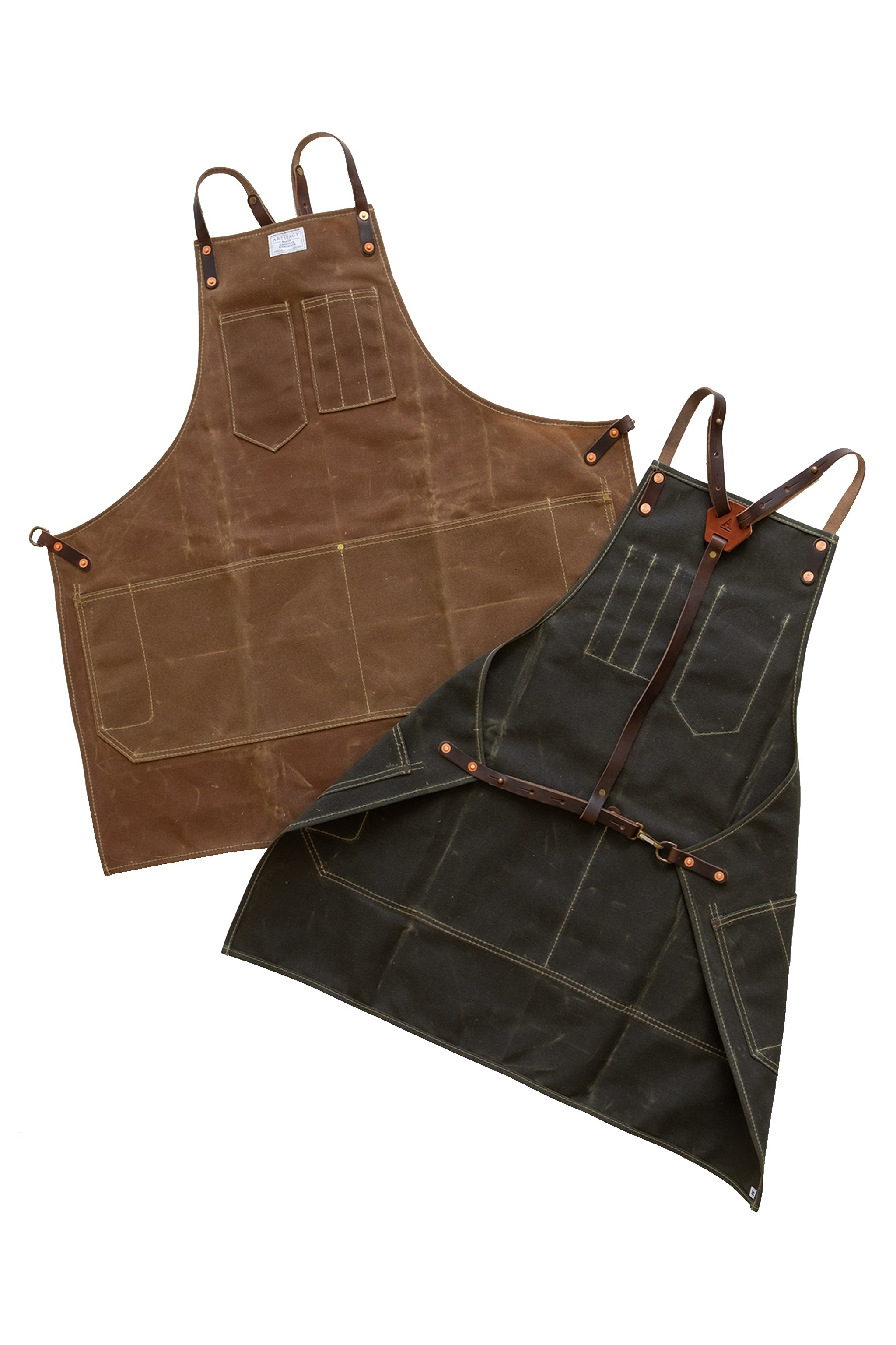 Wax Canvas Shop Apron w/ Leather Y Straps   ARTIFACT   Made in USA