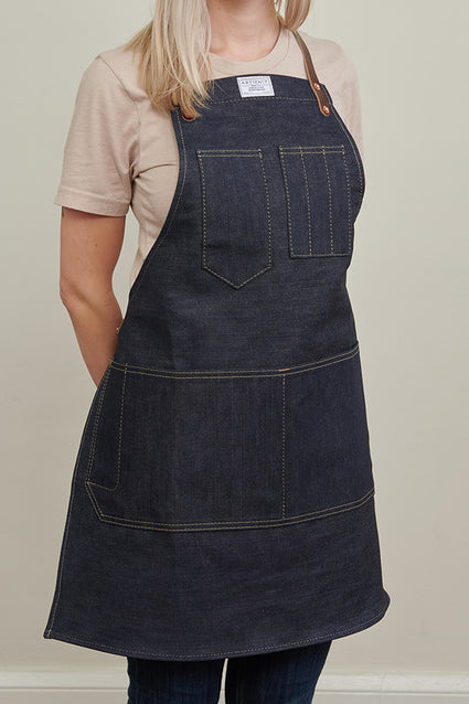 ARTIFACT Cone Denim Apron w/ Leather Y-Strap - Female Front