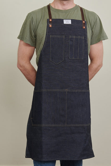 ARTIFACT Cone Denim Apron w/ Leather Y-Strap - Male Front