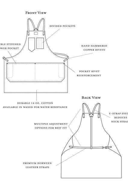 Denim Workshop Apron w/ Leather Y-Strap